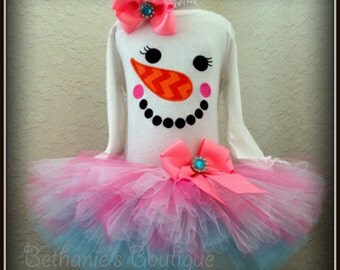 Snowman Face Holiday Tutu Set- Holiday outfit- Christmas photo prop- Winter tutu set