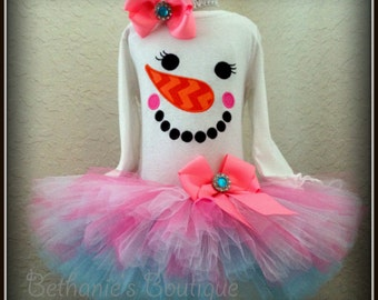 Snowman tutu outfit - snowman face outfit - girls snowman outfit - winter birthday outfit - pink and blue snowman birthday tutu outfit