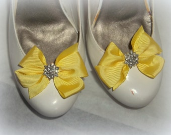 Cute Chic Style Shoe Clips -Yellow -Crystal Rhinestones - set of 2 bridal wedding special occasion shoe clips for shoes