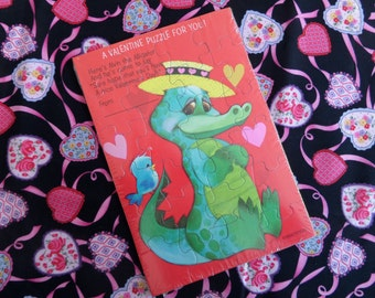 Valentine Puzzle Card -- Alligator