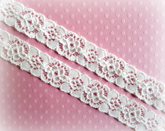 "Narrow White Stretch Lace. Lace Elastic.  1/2"" Width. 5 Yards. SHAYA Lace."