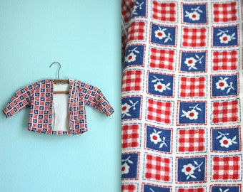 vintage 70s red white and blue flower hoodie / cotton jacket / gingham / girls / toddler size 12 months / 1 year