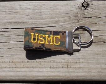 Embroidered USMC Mini Military Key Fob, USMC Woodland Mini Military Key Fob, Embroidered Mini USMC fob, Gold Embroidery