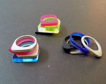 silver and acrylic stackable rings, four rings set, design rings, colorful ring set, every day new ring, personalized rings, gift for her