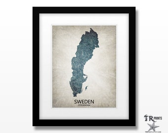 Sweden Map - Home Is Where The Heart Is Love Map - Original Custom Map Art Print Available in Multiple Size and Color Options