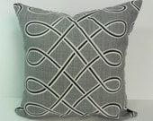 Grey Linen Decorative  Pillow Cover, Black, Gray, Pillow Cushion, 18 x 18