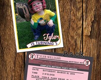 Vintage Baseball Trading Card Invitation