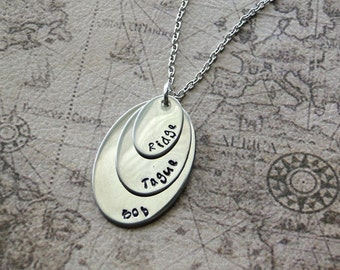 Triple Stacked Oval Necklace, hand stamped