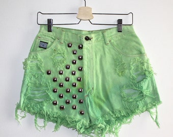 Denim Cutoff Shorts - Lime Green Round Studded Slashed and Frayed Denim Shorts