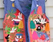 Vintage Applique vest with figural motif village and birds ala 1970s