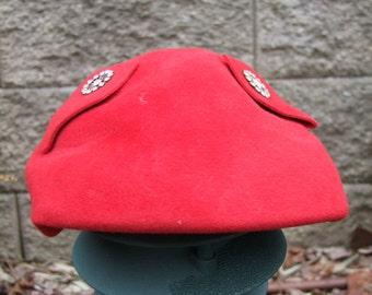 Vintage red wool fleece hat with embellished Rhinestone pins ala 1950s