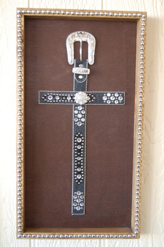 Items Similar To Black Western Belt Cross Frame Wall