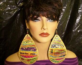 Gold Teardrop Dangle Earrings - Handpainted Design