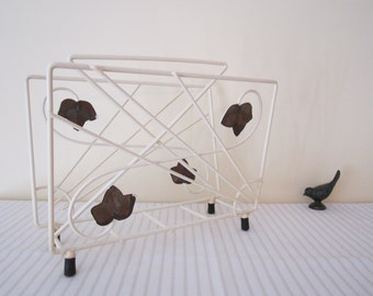 VINTAGE magazine rack - cream enamel frame, metal ivy leaves