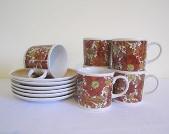 RETRO 1960s WESTMINSTER tea coffee cups saucers - set of 6, boxed, fine china