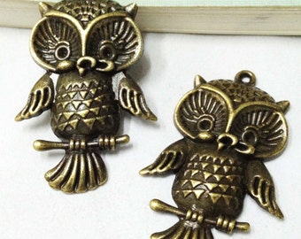 Owl Charms -10pcs Antique Bronze Lovely Owl on Branch Charm Pendants 27x42mm F404-5
