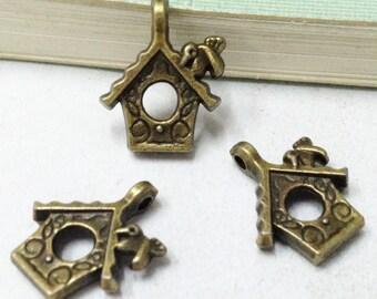 30pcs Antique Bronze Bird House Charm Pendants 12x15mm C208-1
