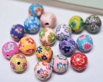 50pcs 12mm Mixed Color Polymer Clay Beads Round Flower Painted Beads