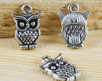 25pcs of Antique Silver Lovely Owl Charm Pendants 11x16mm AB104-4