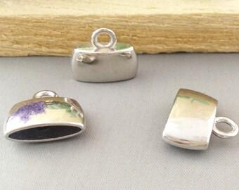 10pcs Antique Silver Ribbon End Crimp Bead Caps Fastener Charm Pendants 17x20mm AB207-4