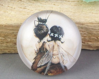 4pcs 25mm Round Handmade Photo Glass Cabochon - Boy & Girl