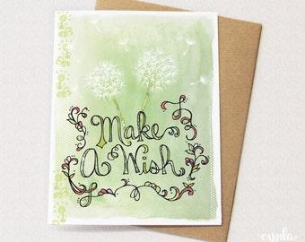 Make a Wish Dandelion Card - Blank card for birthday, st patricks day