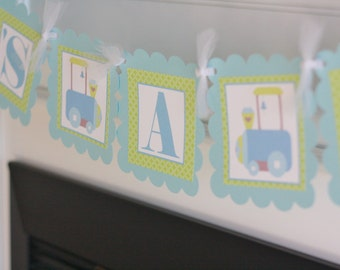 """Baby Shower Light Blue & Green Baby Train """"It's a Boy"""" Baby Shower Banner - Ask About Party Packs"""