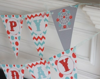 Happy Birthday Pennant Flag Blue & Red Chevron Polka Dot Carnival Ferris Wheel Fair Circus Theme Banner - Ask About Our Party Pack Specials