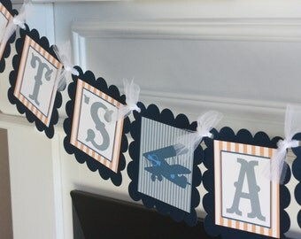 """Vintage Orange Grey and Navy Blue Stripe Airplane """"It's a Boy"""" Baby Shower Banner - Ask About our Party Pack Special - Free Ship Over 65.00"""