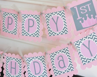Happy Birthday Pink Grey Chevron Princess Crown Tiara Banner - Ask About Our Party Pack Specials - Free Ship Over 65.00