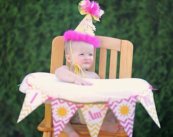 I Am One Highchair 1st Birthday Pennant Flag Banner - Choose ANY THEME in my Shop - Ask About Our Party Pack Specials