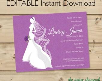 Bridal Shower Invitation Template, Wedding Shower Invitations - Silhouette
