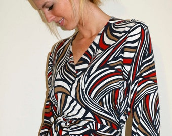 Wrap Jersey Dress with Long or 3/4 Sleeves - Red Blue White Print