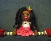 African American Strawberry Shortcake Crochet Doll Plush Afro Dreads Dread Locks Natural Black Hair Stuffed Toy Baby Girl Gift MADE TO ORDER