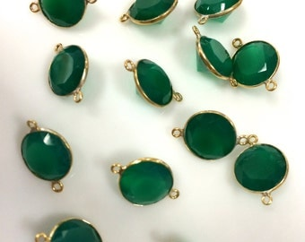 Sold by piece green onyx 10 mm diamond cut vermeil gold