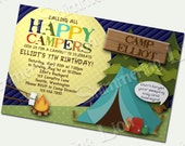 Camping Birthday Invite Invitation Party Custom Printable Boy Girl Kids Camp Out Tent Campfire Moon
