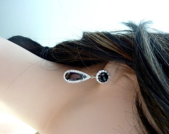 Sales - Halo Oblong Pear Shaped Jet Black Diamond Cubic Zirconia with Big Round Black Post Cubic Zirconia Earrings