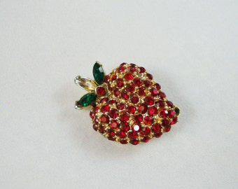 Vintage Strawberry Pin, Vintage Rhinestone Strawberry Brooch