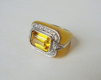 Vintage .925 Silver & Yellow Rhinestone Statement Ring