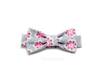 Florence- Gray Polka Dot and Pink and Red Floral Velcro Adjustable Bow Tie