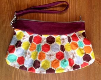 Bee Clutch | Honeycomb Wristlet | Echino Clutch | Purple Wristlet | Phone Clutch | Make up Bag | Bee Print | Echino Fabric | Echino Print