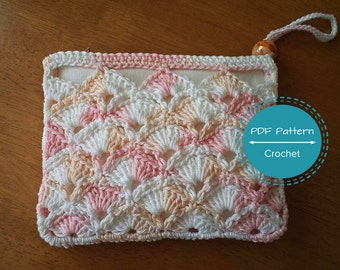 Crochet Zipper Pouch Tutorial : crochet zip pouch pdf pattern cosmetics make up bag tutorial money ...