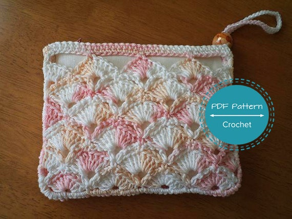 crochet zip pouch pdf pattern,cosmetics make up bag tutorial, money ...
