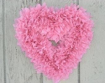 Valentine's Wreath - Pink Heart Wreath - Baby Girl Wreath - Pink Baby Shower Decor - Door Wreath - Indoor Outdoor Wreath - Wedding Wreath