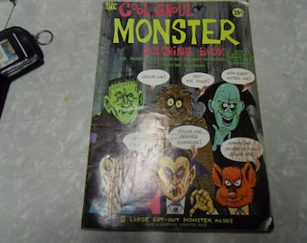 1964 -  Cool Ghoul Monster Coloring Book, with 8 large cut out face masks,  partially colored - Wannamaker - super rare