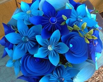 Shades of Blue Wedding Paper Flower Centerpiece