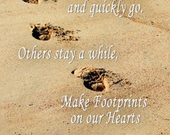 inspirational, some people come into our lives, footprints, heart, Flavia, card no.B3959, typography