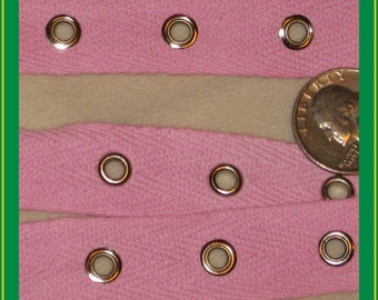 Pink grommet tape - 5 yards NEW cotton trim, 3/4ths inches wide