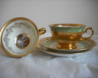Two 24K Gold LeMieux China Tea Cups with Saucers