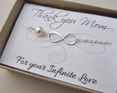 Mothers day bracelet infinity symbol SALE mother of the bride thank you mom for your infinite love sterling silver freshwater pearl grandma